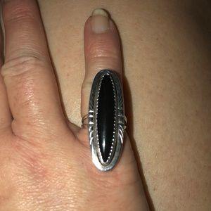Jewelry - Genuine Onyx & 925 Navajo Ring Sz 4.5